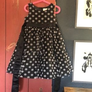 Polka dot tiered mesh dress